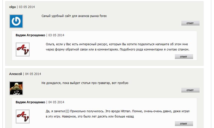 Пример граватаров на блоге