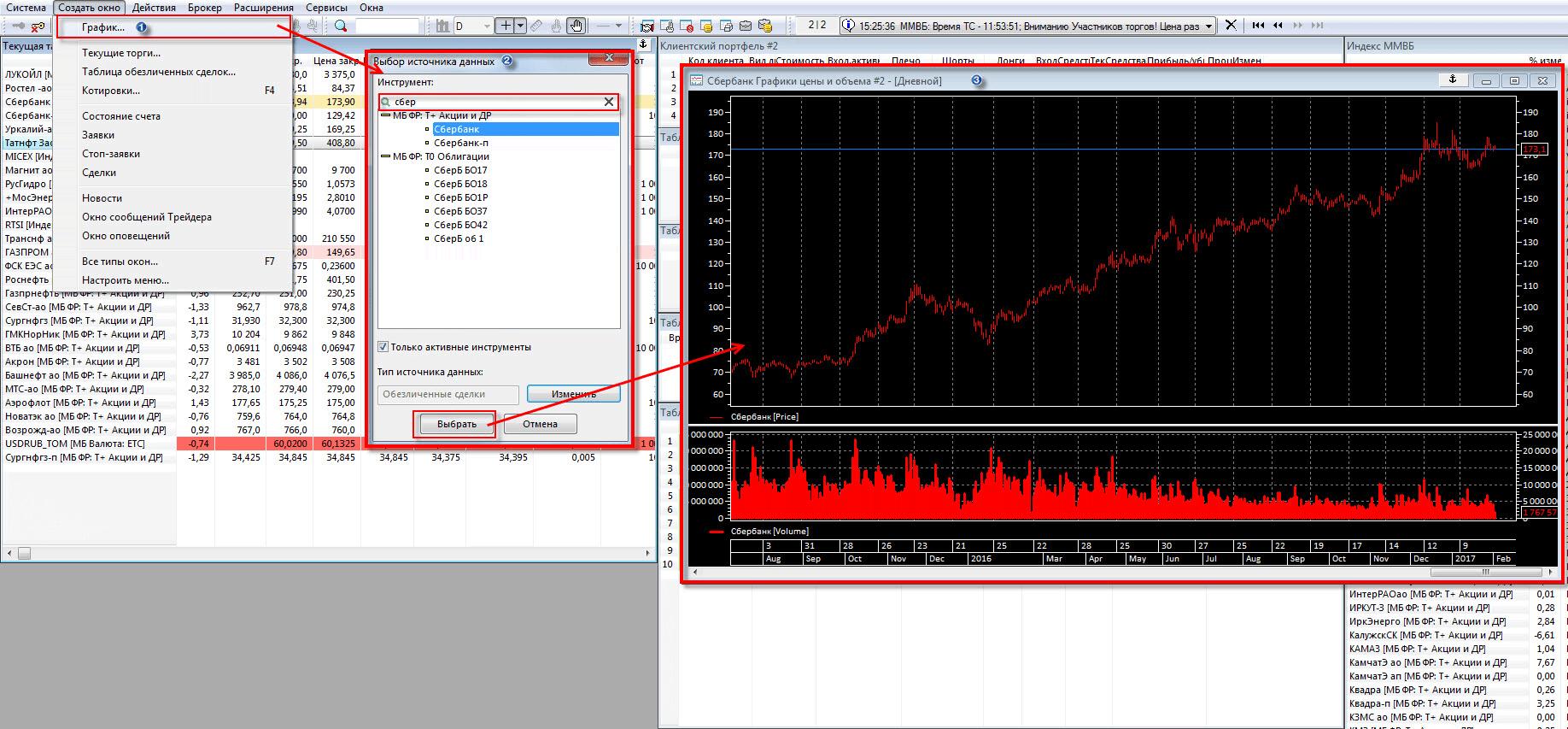 Как создать (открыть) график в торговом терминале QUIK - 1